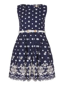Yumi Girls Embroidered Spot Belted Dress
