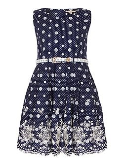 Embroidered Spot Belted Dress
