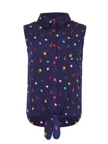 Yumi Girls Scattered Fruit Tie Top