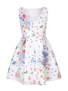 Yumi Girls Floral Butterfly Party Dress