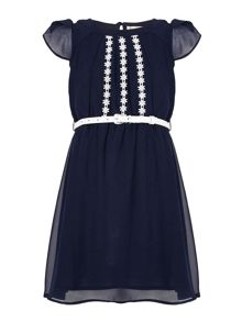 Yumi Girls Floral Embroidered Dress