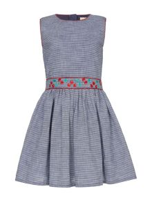 Yumi Girls Embroidered Chambray Skater Dress