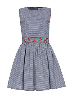 Embroidered Chambray Skater Dress