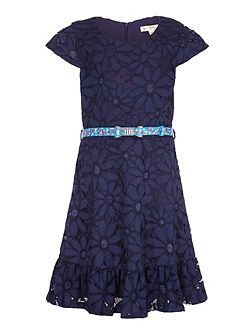 Floral Lace Belted Dress