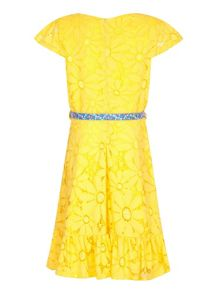 Yumi Girls Floral Lace Belted Dress