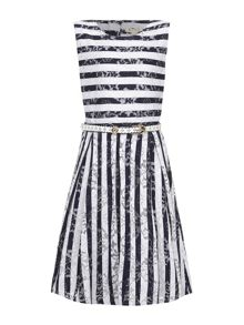 Yumi Girls Stripe Lace Dress