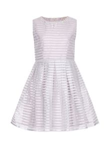 Yumi Girls Embellished Stripe Party Dress