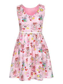 Yumi Girls Tea Party Print Belted Dress