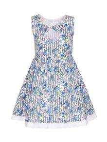 Yumi Girls Floral Stripe Sleeveless Party Dress