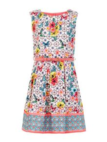 Yumi Girls Tropical Tile Print Belted Dress