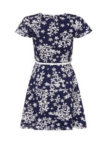 Yumi Girls Floral Lace Belt Dress
