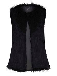 Mela London Faux Fur Collarless Gilet