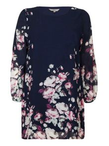 Yumi Curves Floral Border Tunic Dress
