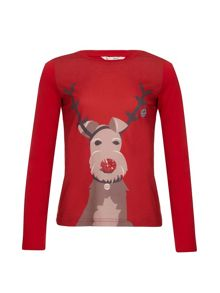 Yumi Girls Embellished Reindeer Top