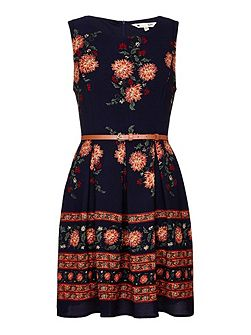Border Print Skater Dress