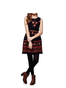 Yumi Border Print Skater Dress