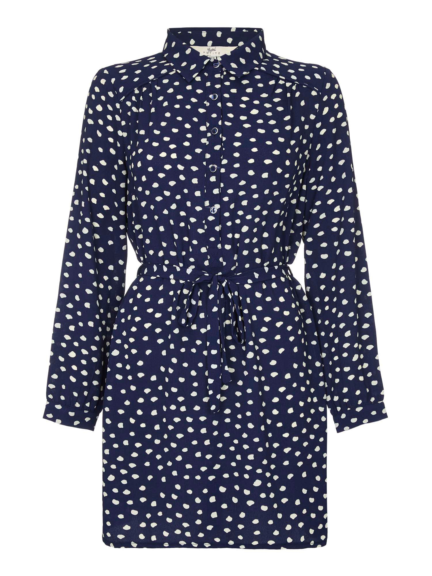 Yumi Polka Dot Print Shirt Dress, Blue