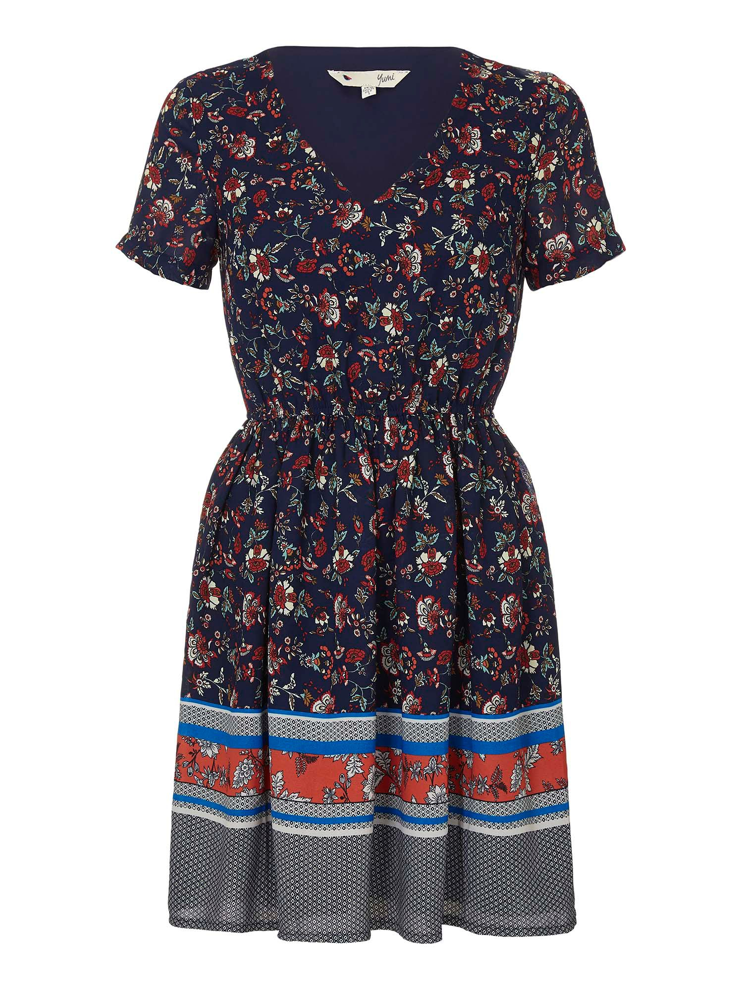 Yumi Floral Panel Skater Dress, Multi-Coloured