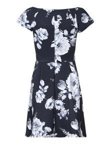 Mela London Floral Print Bardot Party Dress