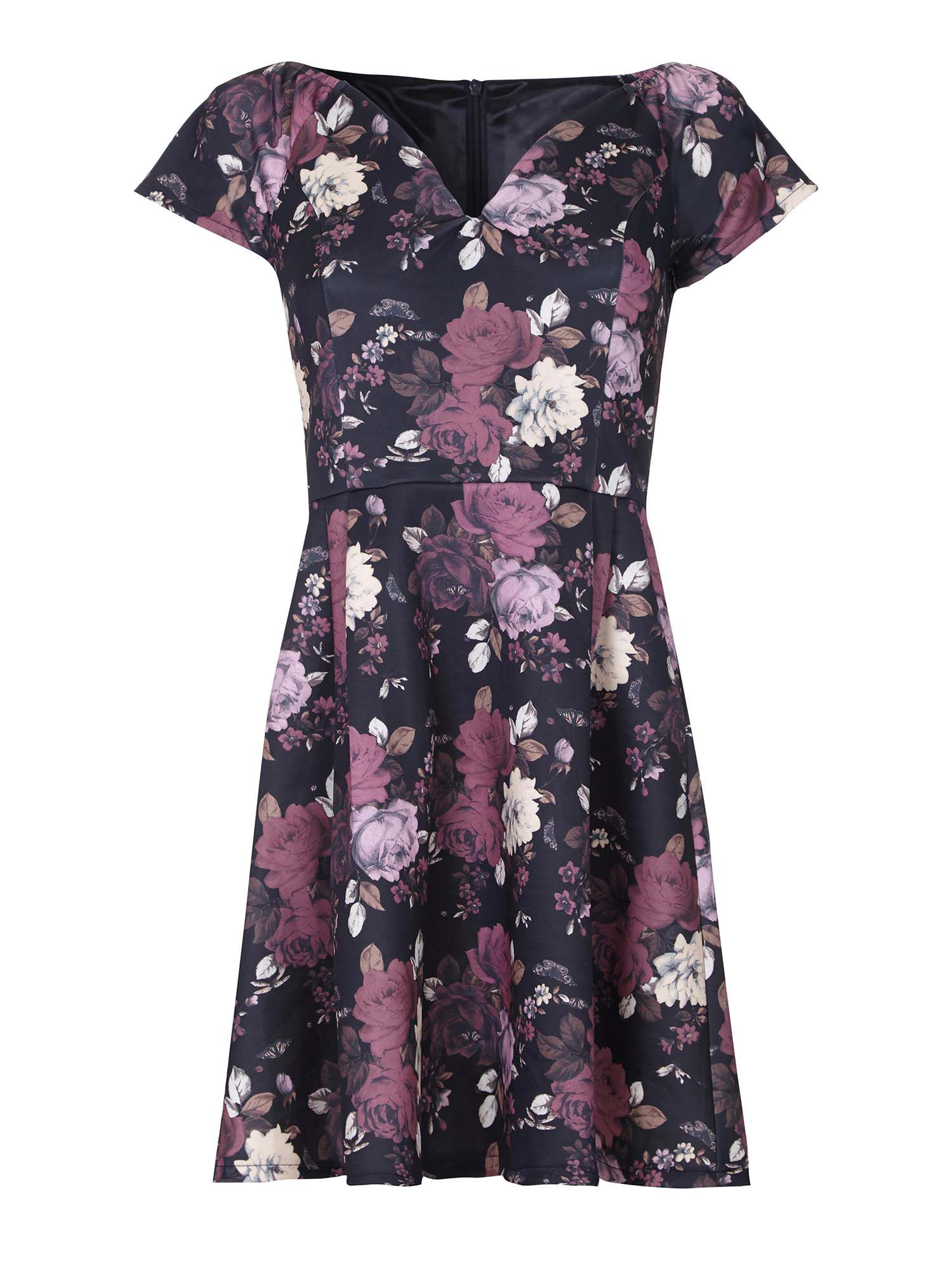 Yumi Floral Print Bardot Party Dress, Multi-Coloured