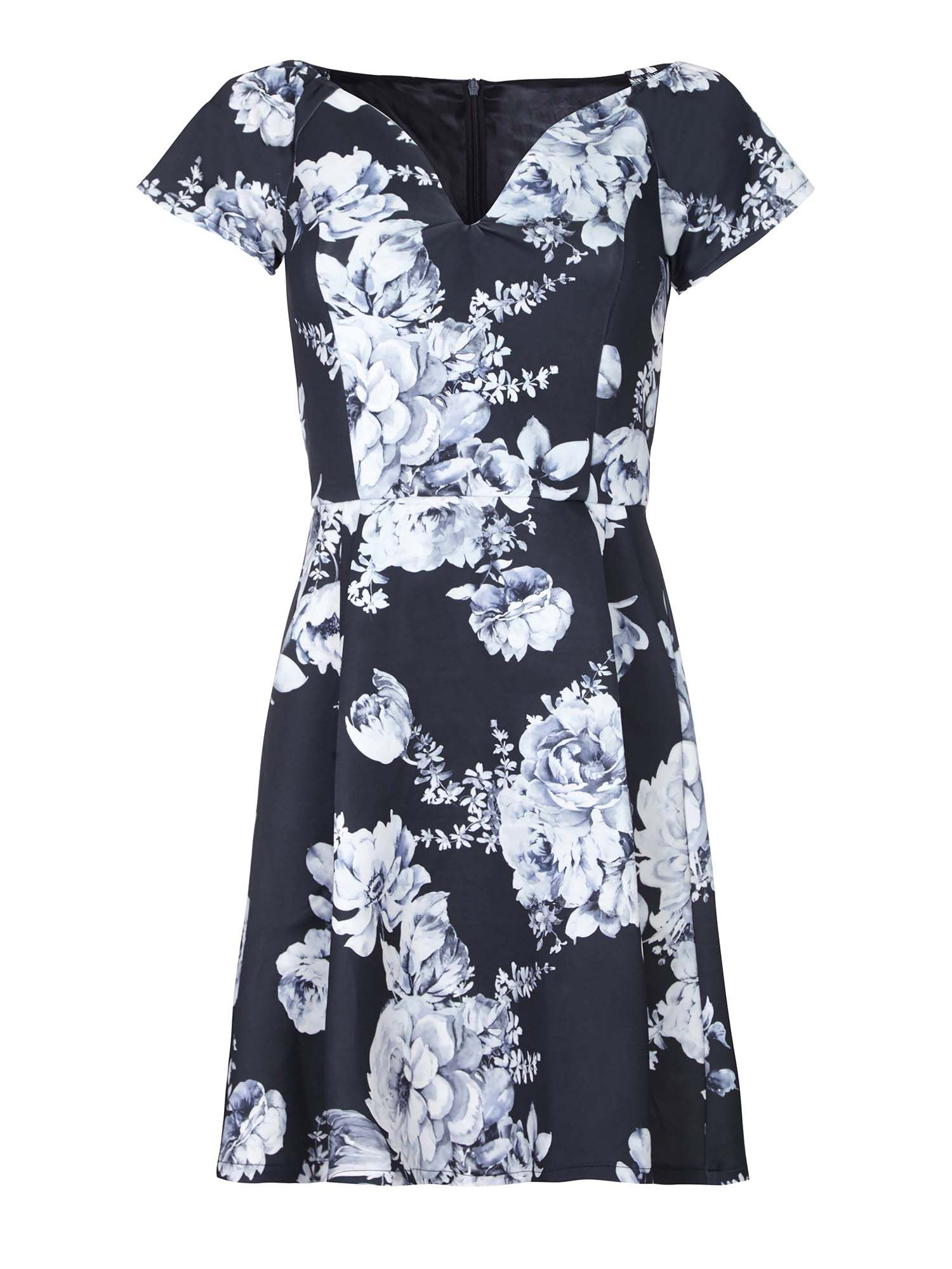 Yumi Floral Print Bardot Party Dress, Black