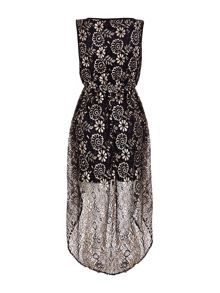 Mela London Floral Lace High Low Dress