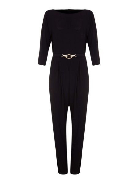 Mela London Gold Short Sleeve Belted Jumpsuit