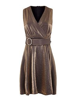 Belted Metallic Dress