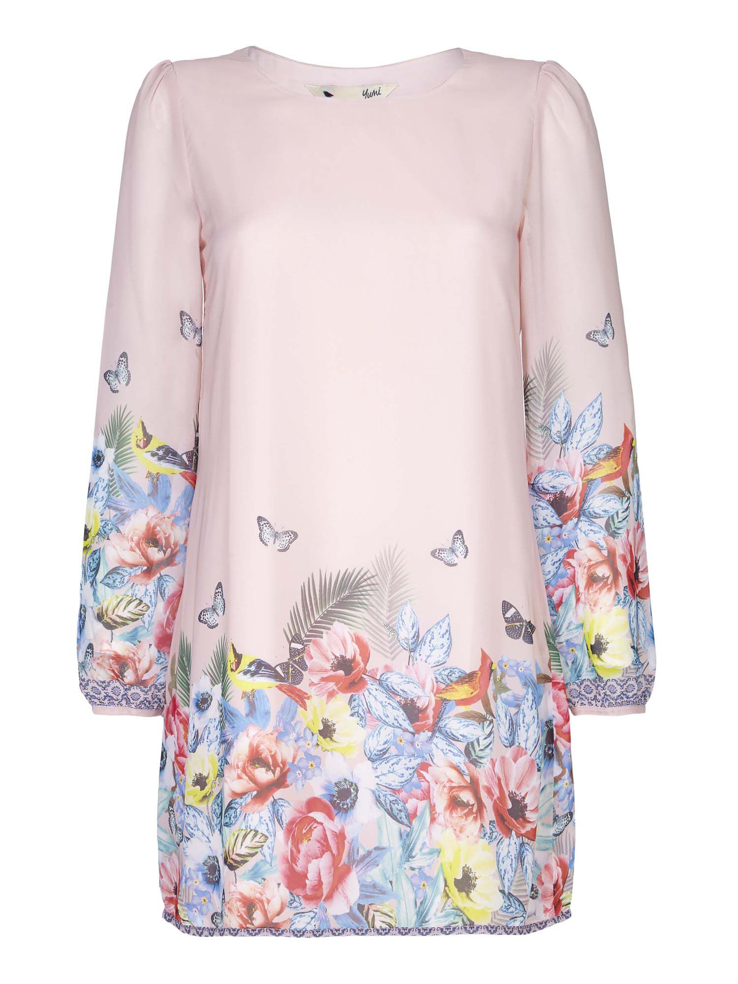Yumi Tropcial Floral Tunic Dress, Pink