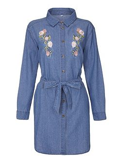 Embroidered Tie Belt Denim Shirt Dress