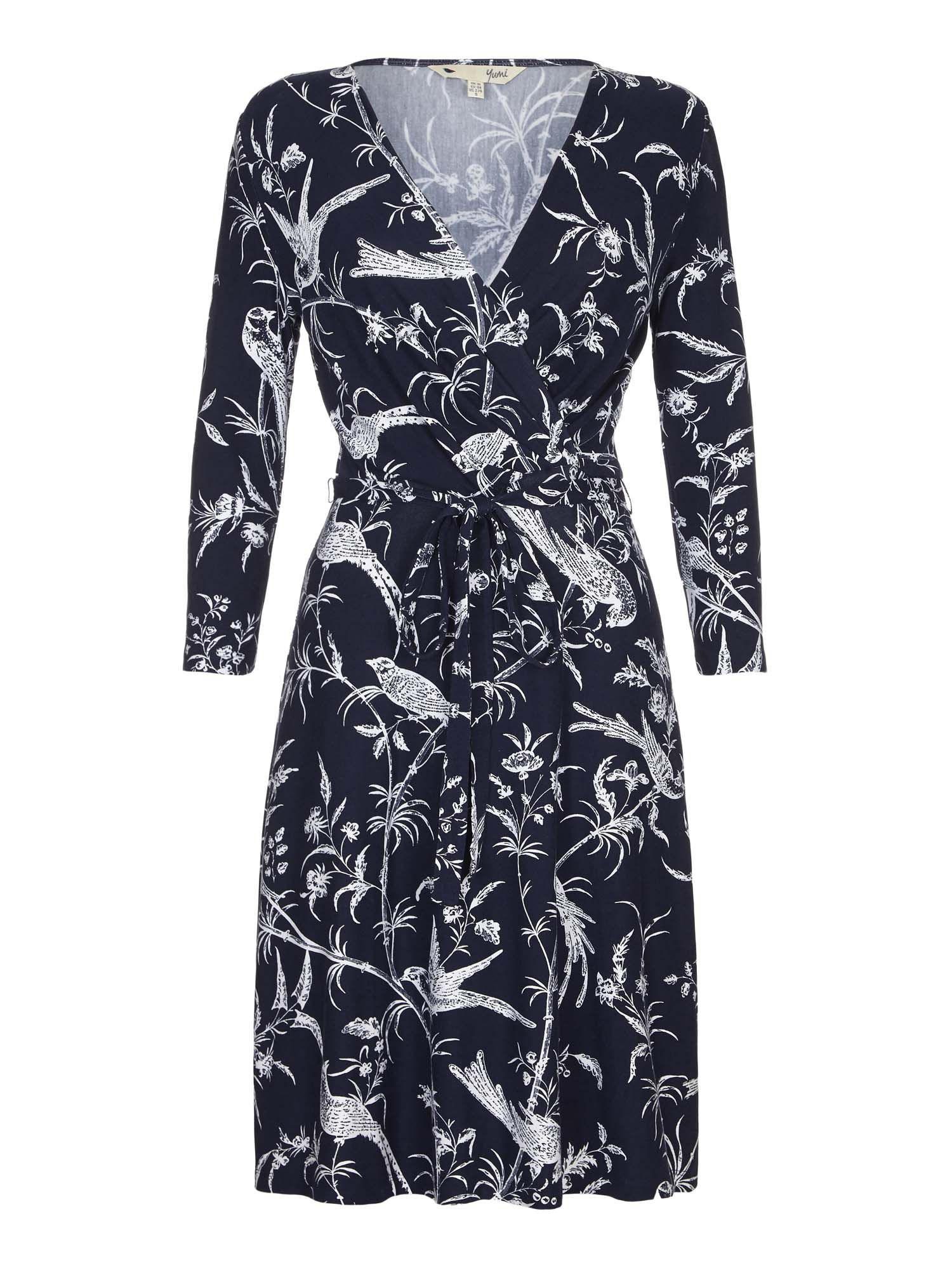 Yumi Bird Print Wrap Dress, Blue