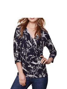 Yumi Bird Print Wrap Top