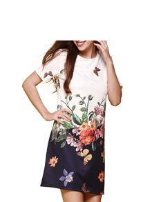 Yumi Floral Garden Short Sleeve Shift Dress