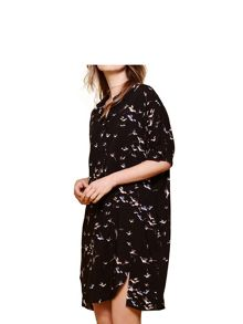 Yumi Bird Printed Collar Dress