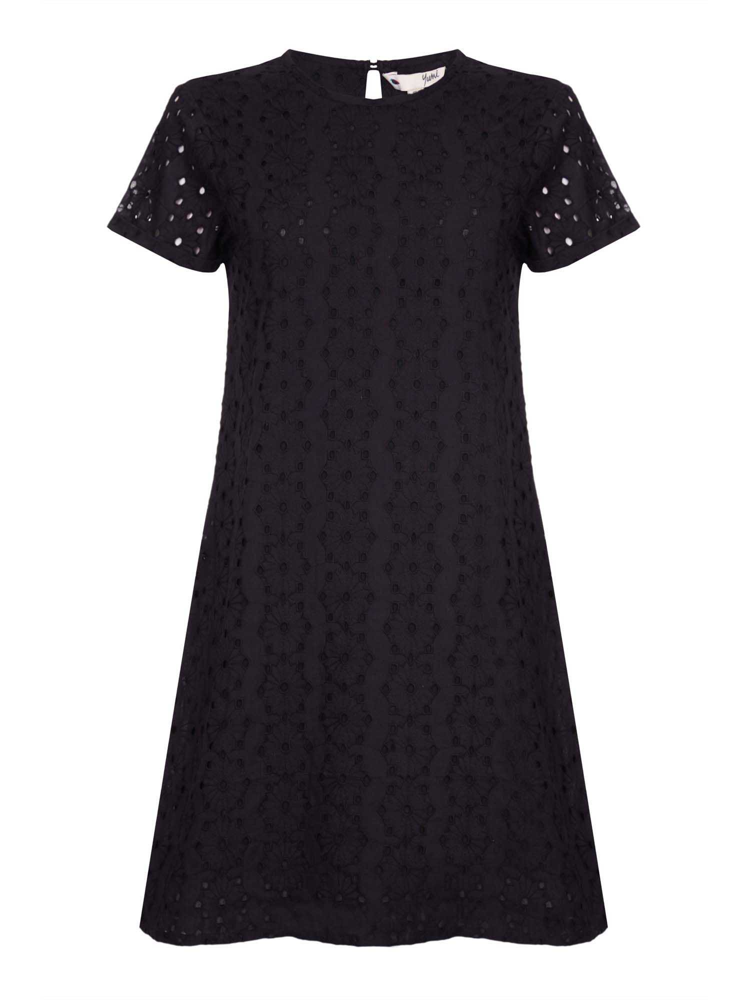 Yumi Schiffli Lace Short Sleeve Dress, Black
