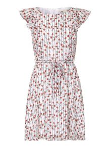 Yumi Tie Waist Floral Print Dress