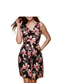 Yumi Floral V Neck Skater Dress