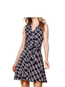Yumi Check Wrap Front Dress
