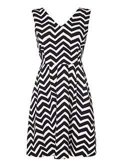 Chevron Stripe V-Neck Dress