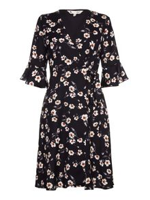 Yumi Floral Print Tie Wrap Dress