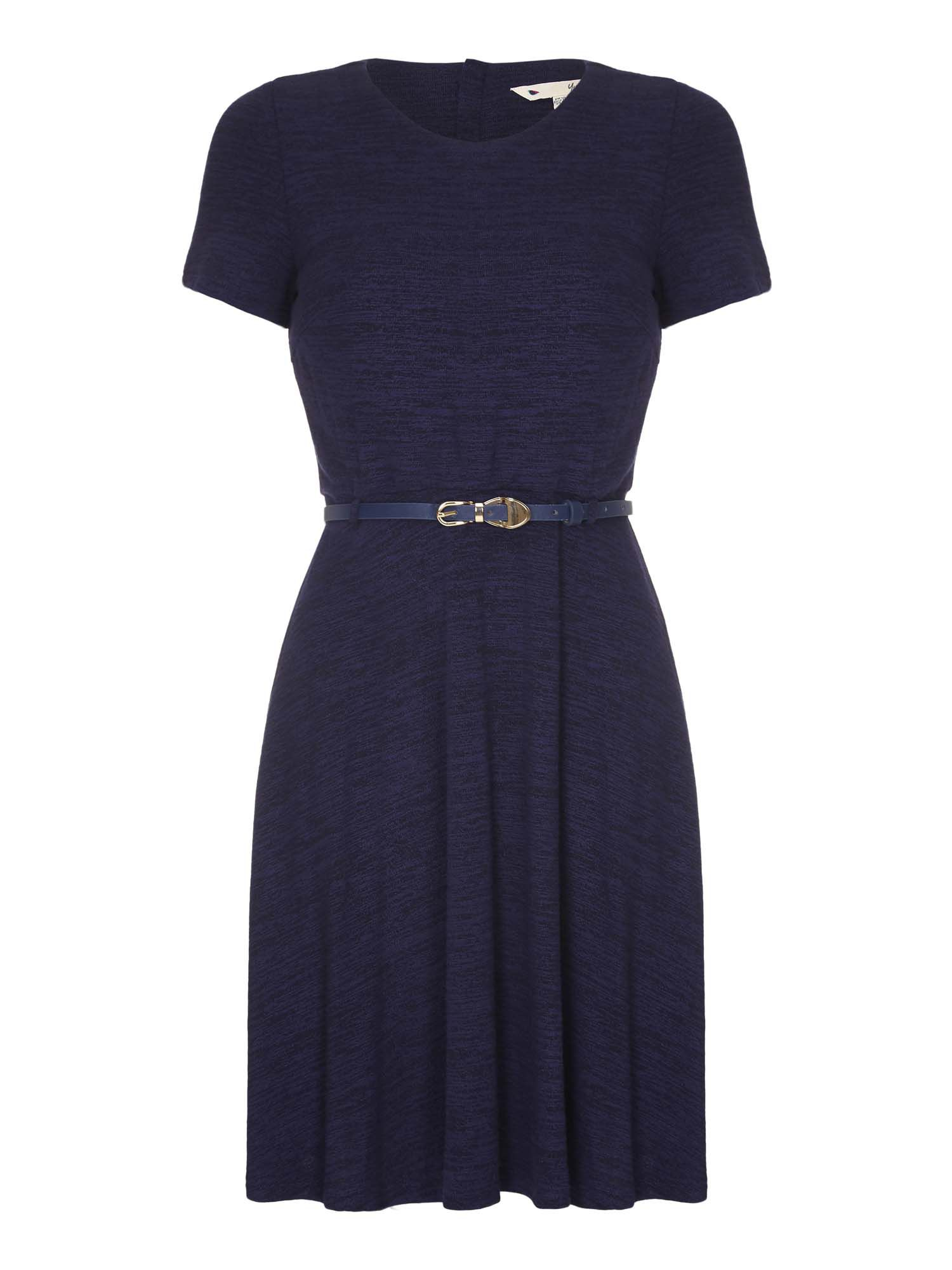 Yumi Belted Short Sleeve Dress, Blue