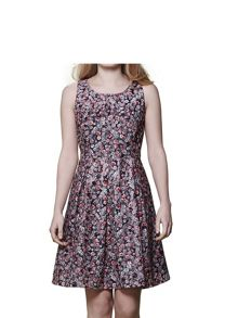 Yumi Floral Jacquard Sleeveless Dress