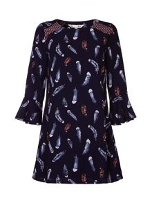 Yumi Feather Print Frill Sleeve Dress