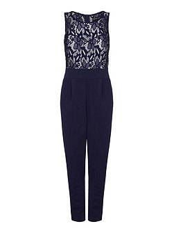 Contrast Lace Sleeveless Jumpsuit