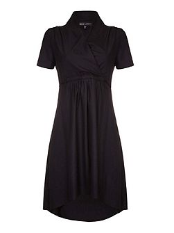 Ruched Wrap Front Dress