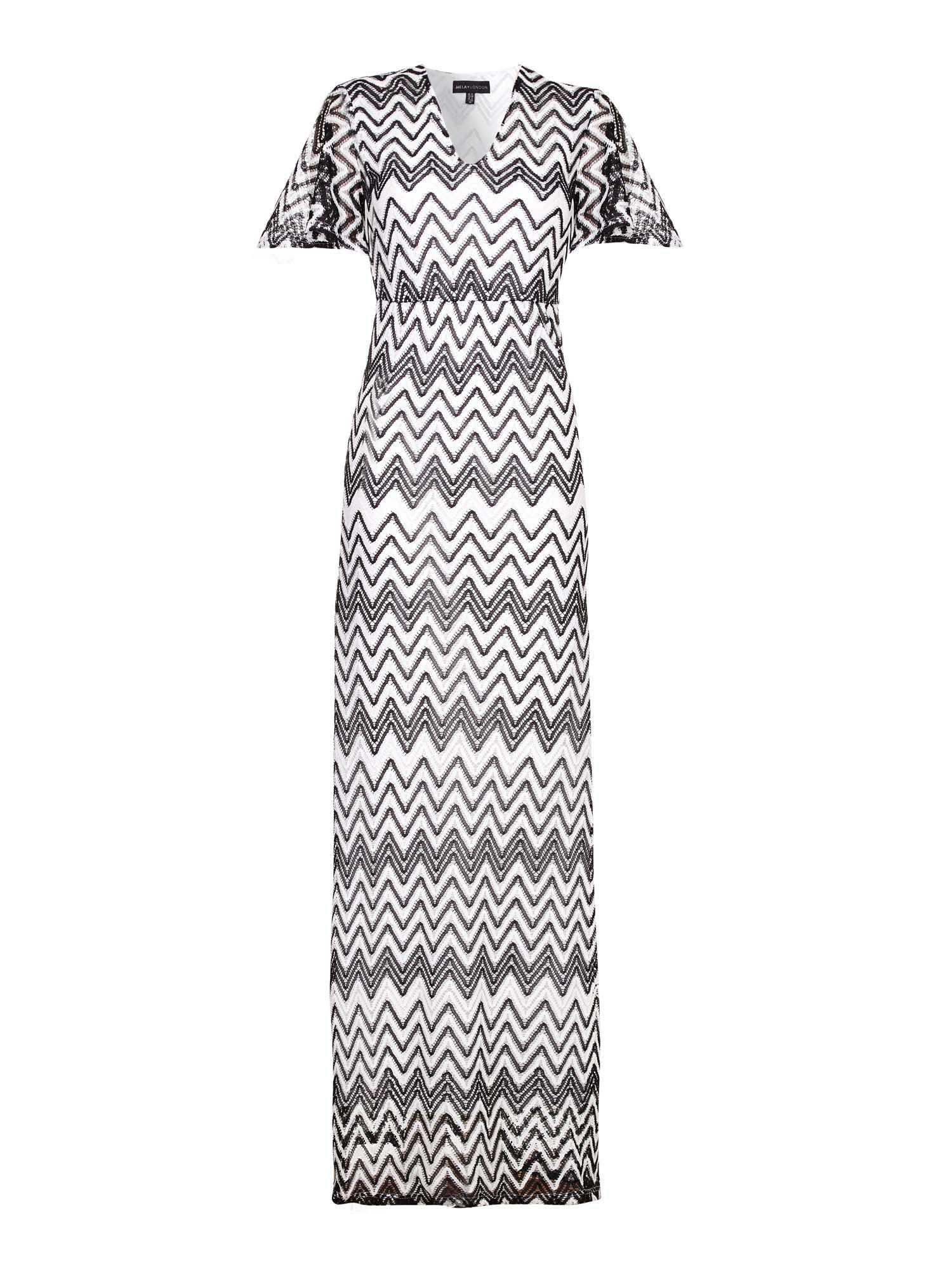 Mela London Lace Chevron Kimono Maxi Dress BlackWhite