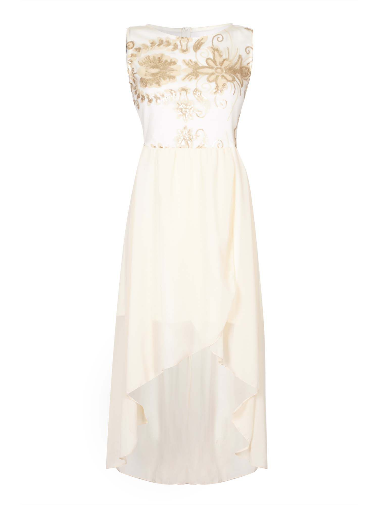 Mela London Sequin Bodice High-Low Party Dress, Cream