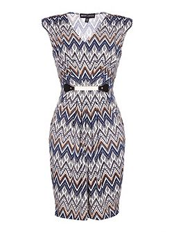 Zig Zag Belted Dress