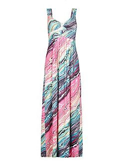 Marbled Print Sleeveless Maxi Dress