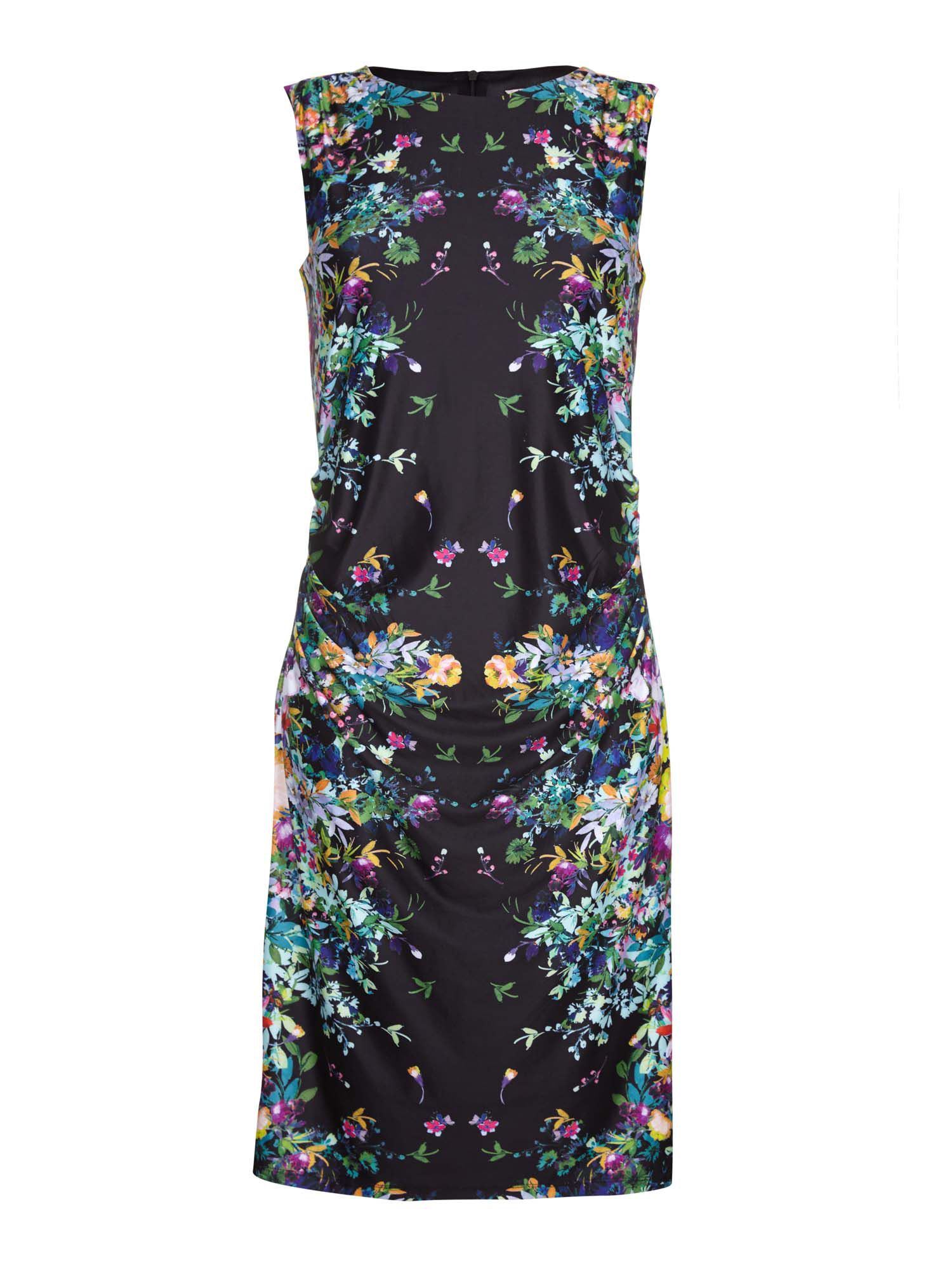 Yumi Sleeveless Mirrored Floral Dress, Black